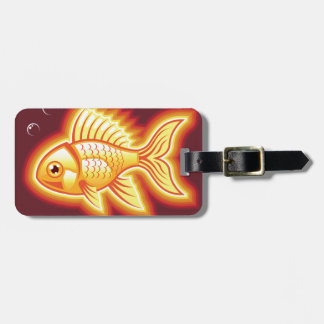 Vector gold fish glowing bright luggage tag