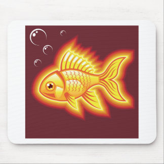 Vector gold fish glowing bright mouse pad