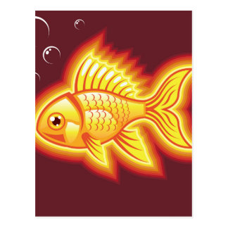 Vector gold fish glowing bright postcard
