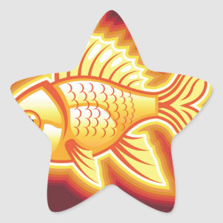 Vector gold fish glowing bright star sticker