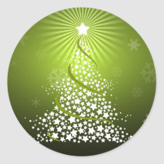 Vector Green Christmas Tree Classic Round Sticker at Zazzle