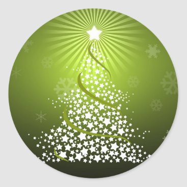 Christmas Themed Vector Green Christmas Tree Classic Round Sticker