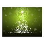 Vector Green Christmas Tree Postcard