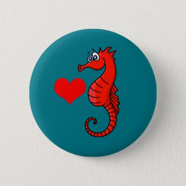 Valentines Themed Vector  Heart and Seahorse Button