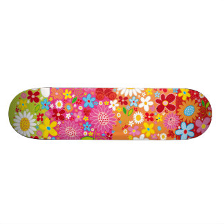 Vector_Heart_Flowers.ai Skateboard Deck