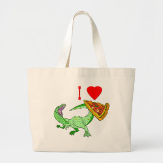 Vector I Love Pizza Slice Large Tote Bag