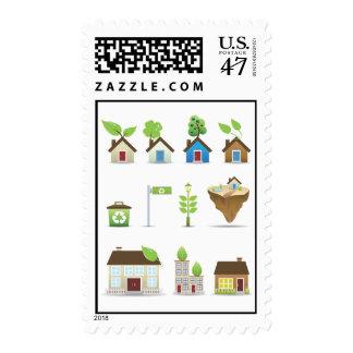 Vector Icons.ai de la casa verde Estampilla