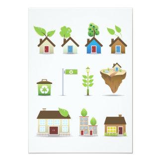"""Vector Icons.ai de la casa verde Invitación 5"""" X 7"""""""
