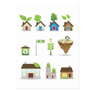Vector Icons.ai de la casa verde Postal