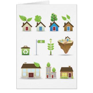 Vector Icons.ai de la casa verde Tarjeta De Felicitación