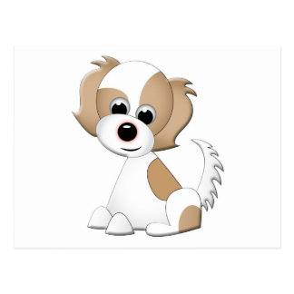 Vector illustration of a puppy postcard