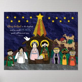 Vector Illustration of Christmas Nativity Scene Poster