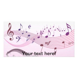 Vector illustration of Winding musical notes Card