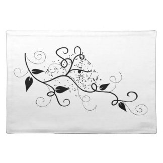 Vector ivy swirl branch girly chic floral nature placemat