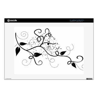 Vector ivy swirl branch girly chic floral nature decals for laptops
