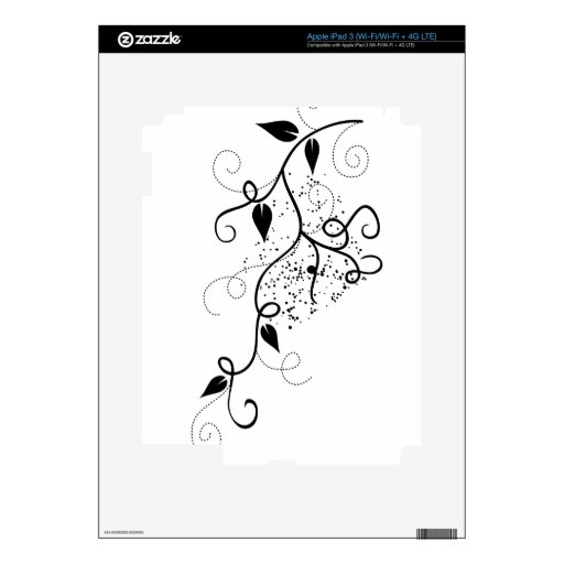 Vector ivy swirl branch girly chic floral nature skin for iPad 3