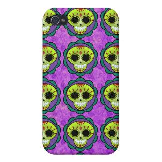 Vector mexicano verde del cráneo del azúcar - iPhone 4 carcasas