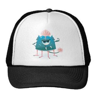 vector monster showing his power trucker hat