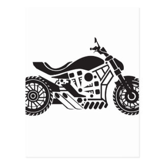 Vector Motorcycle Black simplified Postcard