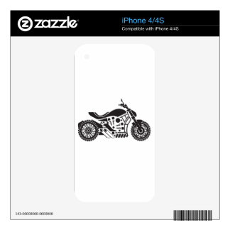 Vector Motorcycle Black simplified Skin For The iPhone 4S