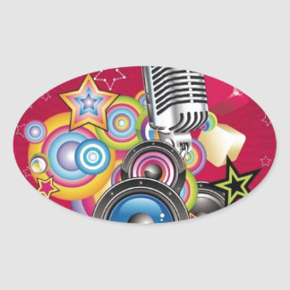 Vector-Music-Background-with-Speaker-and-Microphon Oval Sticker