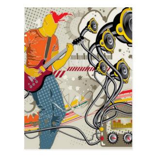 Vector musical theme design postcard