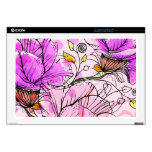 """Vector pink flowers decal for 17"""" laptop"""