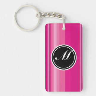 Vector Pink Gradient Striped Double-Sided Rectangular Acrylic Keychain