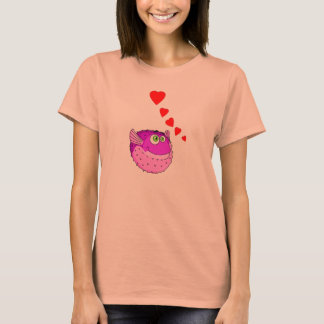 Vector Purple Cartoon  Puffer Fish T-Shirt