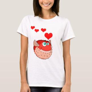 Vector  Red  Cartoon  Puffer Fish T-Shirt