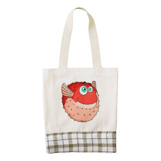 Vector  Red  Cartoon  Puffer Fish Zazzle HEART Tote Bag