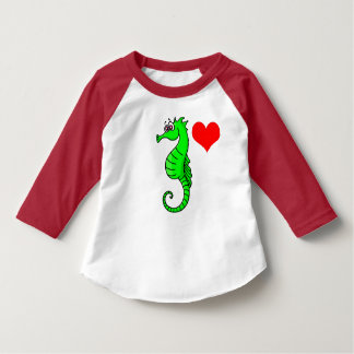 Vector  Red Heart and Green Seahorse Shirt