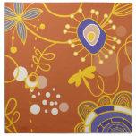Vector retro anaranjado floral lindo con la libélu servilletas imprimidas