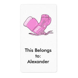 vector rosado de los guantes de boxeo etiqueta de envío