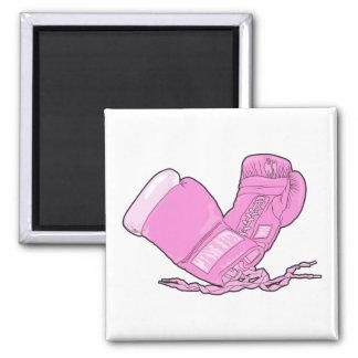 vector rosado de los guantes de boxeo imán cuadrado