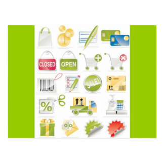Vector Shop Icons Postcard