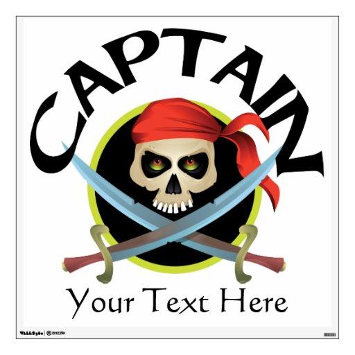 Vector Skull and Crossed Swords - Captain Wall Sticker