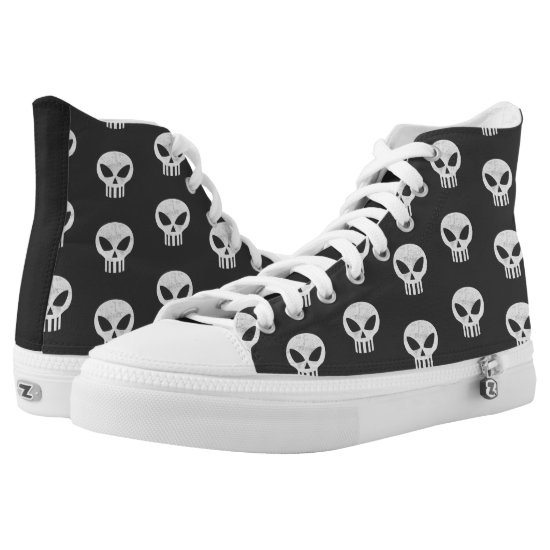 Vector Skull Distressed High-Top Sneakers