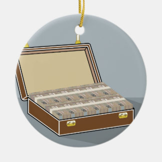 Vector Suitcase with Money Open Ceramic Ornament