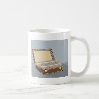 Vector Suitcase with Money Open Coffee Mug
