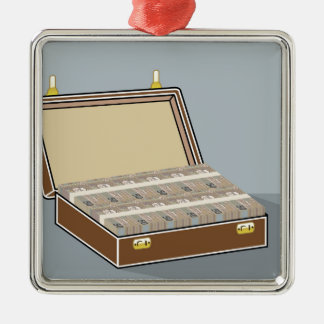 Vector Suitcase with Money Open Metal Ornament