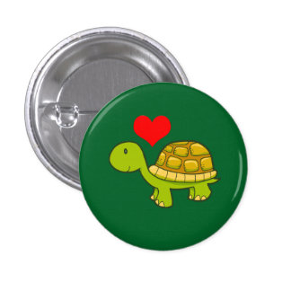 Vector tortoise with heart button
