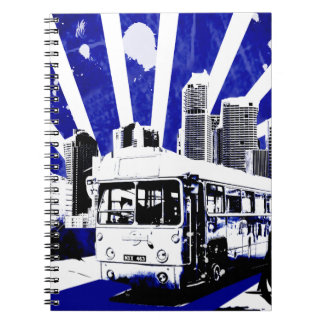 Vector Urban City with Vintage Bus Notebooks