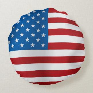 Vector  USA Flag Round Pillow