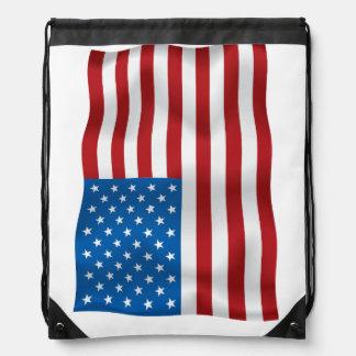 Vector  USA Waveing Flag Drawstring Backpack