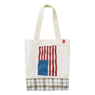 Vector  USA Waveing Flag Zazzle HEART Tote Bag