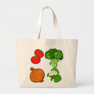 Vector Vegtables Large Tote Bag