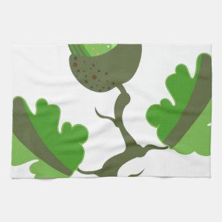 Vector verde de la bellota toallas de cocina