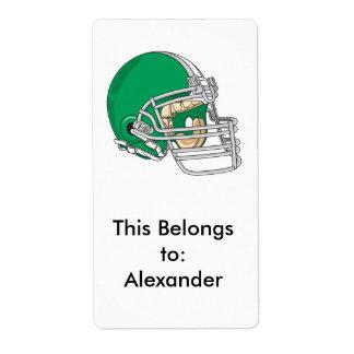 vector verde del casco de fútbol americano etiqueta de envío