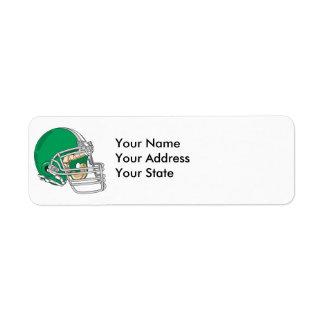 vector verde del casco de fútbol americano etiqueta de remitente